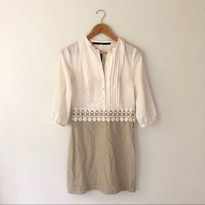 Kensie Cream Tan Pleated Dress